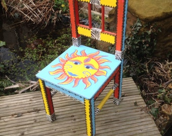 OOAK smiling sun child's chair