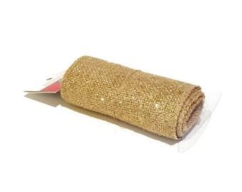 Beige with Gold Glitter Burlap Fabric