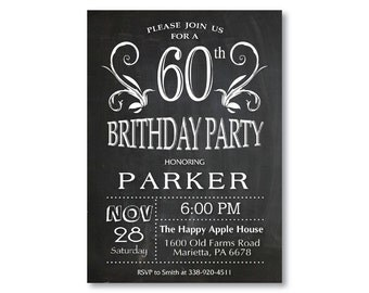60th Birthday Invitation for men or women. Chalkboard 30th 40th 50th 70th 80th Any Age. Black and White. String Lights. Printable Digital.