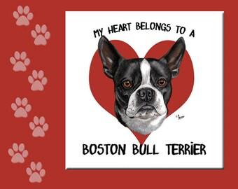 BOSTON BULL TERRIER Tile, Boston Terrier Tile, Boston Terrier Sign, Boston Bull Terrier Lover Gift, Boston Terrier Spoon Rest