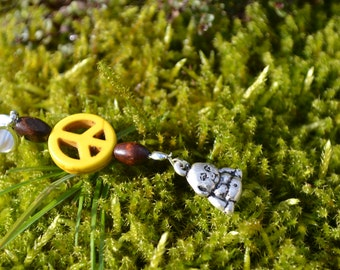 Dread jewelry with yellow peace and  buddha /pendants woodpearls