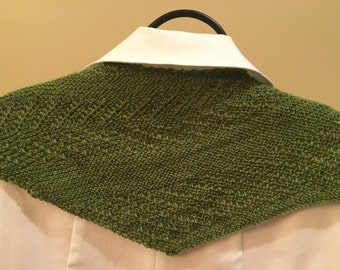 Hand knitted triangular shawl
