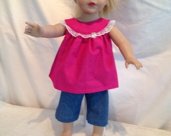 """Capries and top for 18"""" doll"""