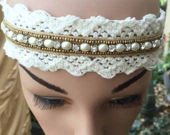 Lace Headband in White with Gold Trim and Pearl and Rhinestone Accents