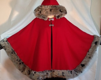 Red Wool Poncho Cape/Melton Wool & Winter Fleece w World-Famous Tissavel Faux Fur Trim/One Size/GiftReady Shipping Box/Perfect Gift for Her!