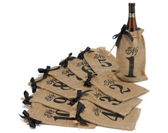 Burlap Table Number Wine Bags | Rustic Wedding Reception Decor Table Number Burlap Numbered Wine Bags | Select 1 to 10, 1 to 20 or 1 to 30