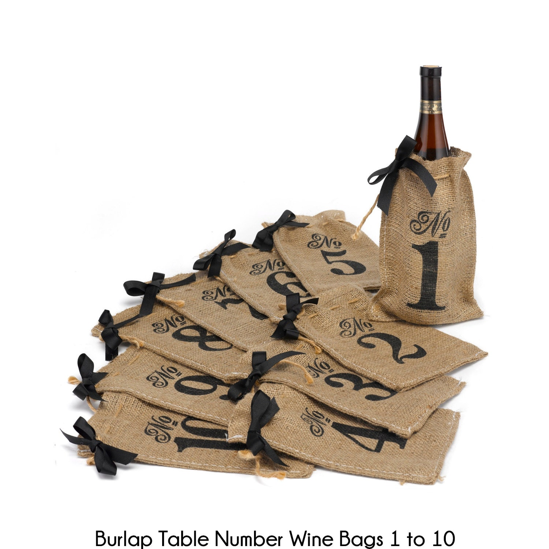Burlap table number wine bags rustic wedding reception decor for Decorative burlap bags