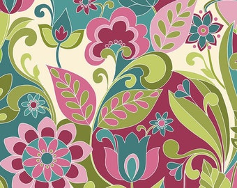 Botanique Main Teal by Riley Blake Designs - Floral Purple Pink Lime - Quilting Cotton Fabric - end of bolt pieces
