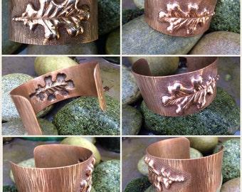 Solid copper, repousse oak leaf, cuff bracelet