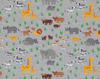 Grey Safari Animals Cotton Jersey Knit Fabric