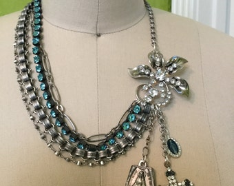 Oooolala daisies!- unique vintage assemblage necklace- 4 strands