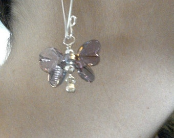 Shimmering lampwork and sterling silver butterfly earrings