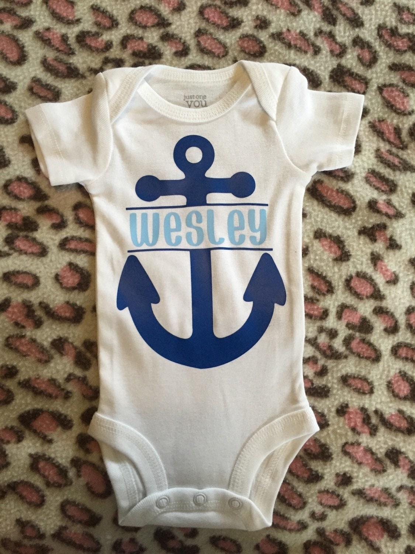 Nautical personalized onesie. Anchors away baby boy onesie.