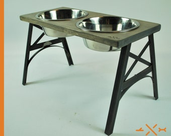 Greyhound Double Dish Feeding Stand -  Pet Furniture - Feeding station - Gift for pet lovers - Dog Bowl Stand