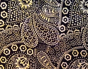 Batik - Black, Yellow Paisley Flowers, 100% Cotton