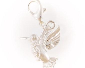 Silver hummingbird charm
