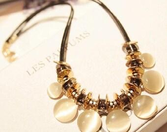Moonstone Fashion Leather Necklace