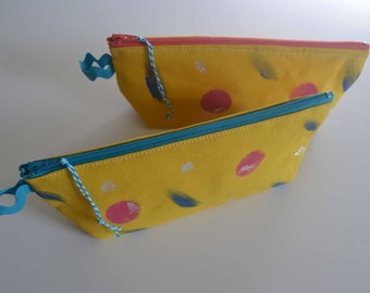 Yellow Pencil Case with Ric-Rac