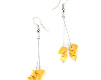 Natural stone lightweight Fair Trade earrings - handmade - daffodil yellow, fern green