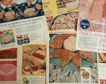 Lot of Vintage 1960s Bakery Food Ads - 1960s Advertising  - Vintage Magazine Ads - Betty Crocker - Quaker Oats - Vintage Paper - Kelloggs