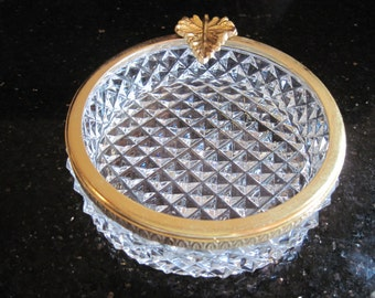 Vintage Ash Tray-Cut Glass with Gold Leaf - Item #1185
