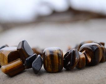 Tigereye bracelet, Tigereye stone chips bracelet, Tigereye jewelry, Beaded tigereye bracelet, Tigereye gift, Buy one get one free.