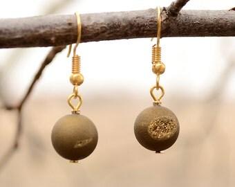 Gold plated druzy earrings, Druzy earrings, Drusy earrings, Agate druzy earrings, Druzy drop earrings, Druzy quartz earrings, Druzy jewelry.