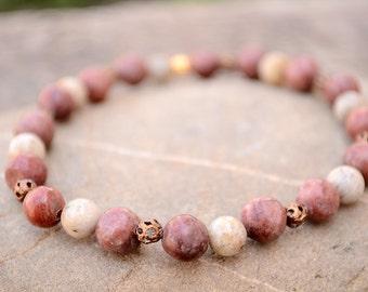 Feldspar and marble stretch bracelet, Feldspar bracelet, Feldspar jewelry, Genuine marble bracelet, Feldspar gift, Buy one get one free.