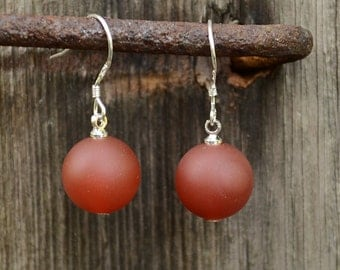 Matte red agate earrings, Red agate earrings, Agate earrings, Agate silver earrings, Silver earrings red agate, Agate drop earrings.