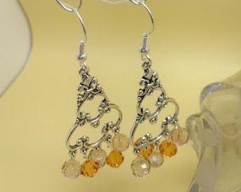 Earrings Swarovski Crystal and metal silver