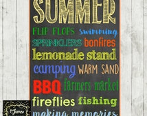 SUMMER subway style Chalkboard Sign **DIGITAL**