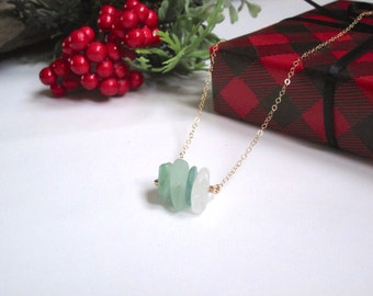 """Sea Glass Ombre Necklace with 14kt Gold Fill Chain, 18"""""""