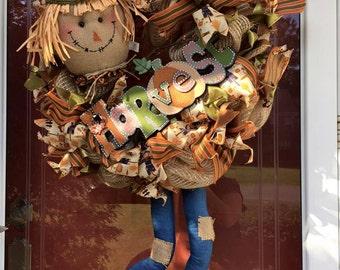 Harvest Scarecrow Deco Mesh Wreath