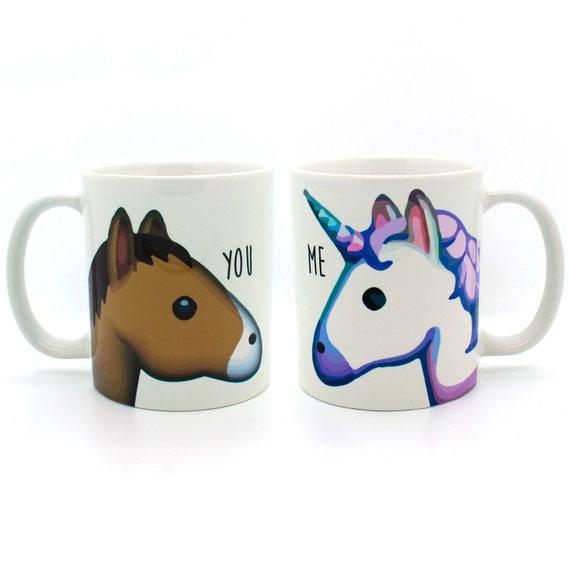 unicorn and horse you and me emoji mug funny mug by poosparkles. Black Bedroom Furniture Sets. Home Design Ideas