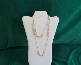 "Vintage Pearl & Sterling Silver Chain Necklace 40"" Long Handknotted Pearl Sections Bride Bridal Antique Jewelry"