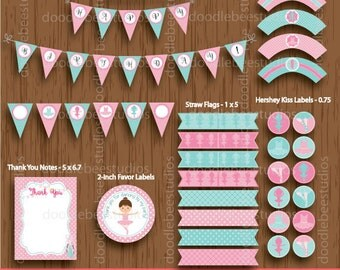 Ballerina Party Package, Ballerina  Party Package, Ballerina  Party Printables, Instant Download Ballerina Party Pack