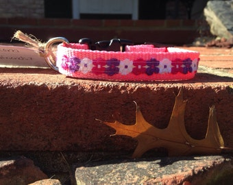 "Pre made Pink Flower Power 3/4"" XS dog collar"