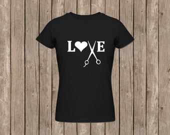 Love Scissors Hairstylist Fitted T-Shirt - Customize Colors!