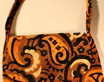 Vintage retro mod  plush fabric paisley print purse handbag tote motif orange brown black tan #statement bag