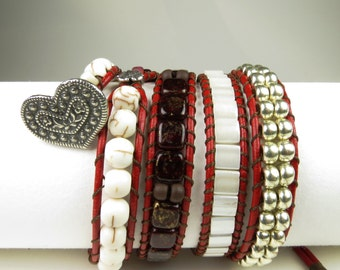 Red leather 4-wrap bracelet