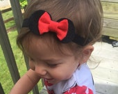 Minnie Mouse Ears Hair Bow, red bow, disney, headband or clip, baby, infant, toddler, girls, adult, baby headband, mickey mouse