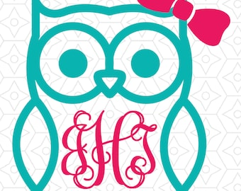 Owl with (or without) Bow Monogram Frame Decal Design, SVG, DXF Vector files for use with Cricut or Silhouette Vinyl Cutting Machines