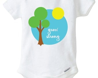 Grow Strong Onesie Design, SVG, DXF, EPS Vector files for use with Cricut or Silhouette Vinyl Cutting Machines.