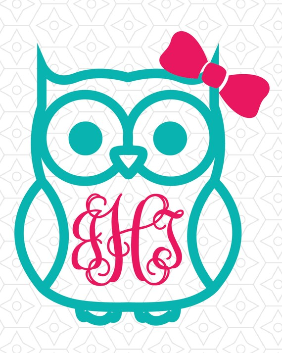 Owl With Or Without Bow Monogram Frame Decal Design Svg