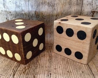 Handmade large chunky wooden dice-Pair of-Freepost