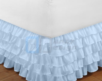 "Sky Blue Ruffle Bed Skirt with 12"" to 30"" Deep Length"