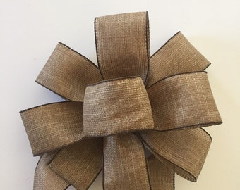 Large Burlap Bow, Wreath Bow, Christmas Tree Topper, Gift Topper Bow, Holiday Bow