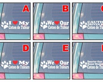 Coton de Tulear dog dogs live love bark proud happiness hug co-pilot rescue smarter funny assorted decal sticker