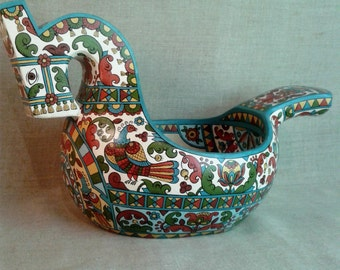 "Russian folk art.Hand made wooden scoop""Horse"". Home decor. Wood Bowl.Ladle."