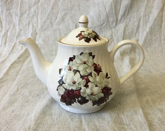 Vintage Magnolia Blossom Teapot, Golden Crown Fina China, Made in England, Collectible Teapot